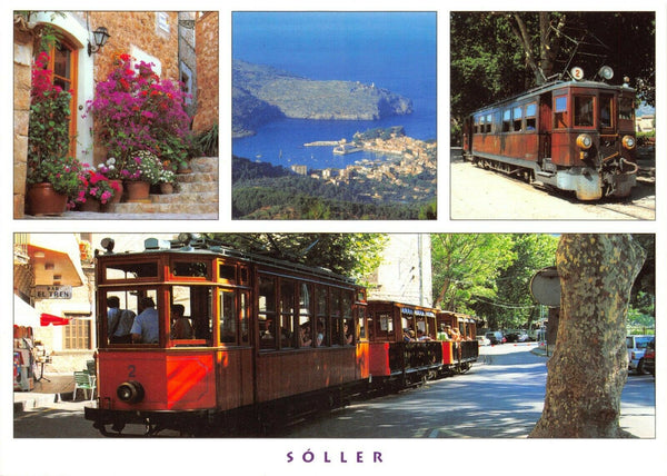Large Format Spain Majorca Mallorca Multi View Postcard, Soller, Trams GT5