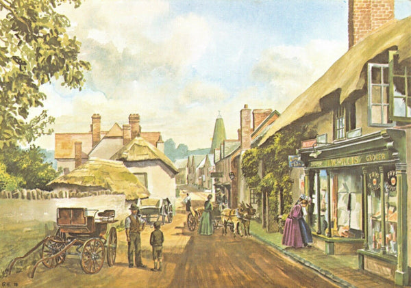 Somerset Art Postcard, The High Street, Porlock c1912 by George Hooker GF6