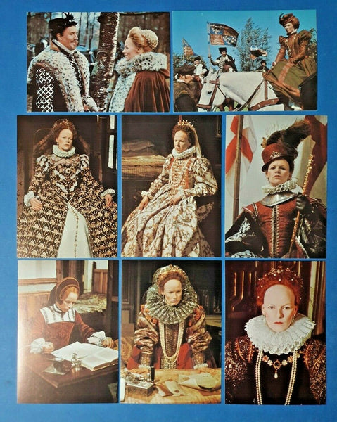 Set of 8 BBC Publication Postcards, Glenda Jackson as Elizabeth I TV Series GF2