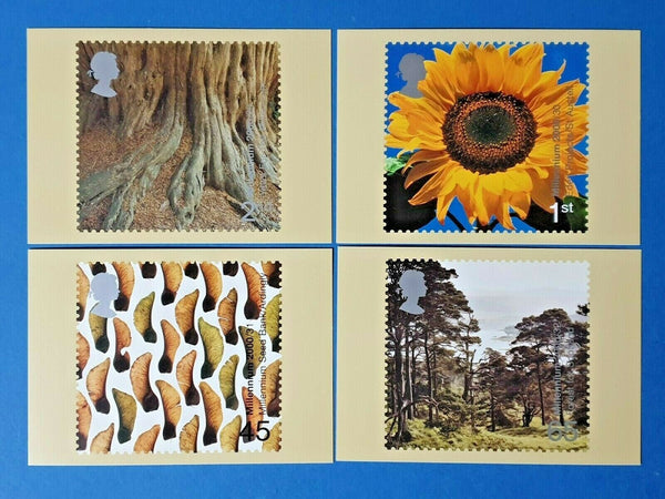 Set of 4 PHQ Stamp Postcards Set No.222 Tree and Leaf Millennium 2000 GB8