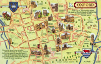 Vintage Oxford Street Map Postcard, Places of Interest, Oxfordshire HX7