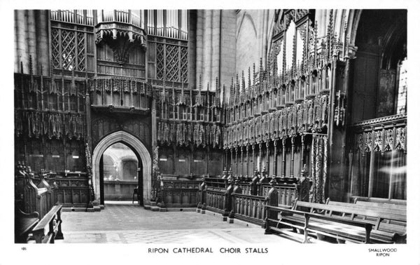 Vintage North Yorkshire Real Photo Postcard, Ripon Cathedral Choir Stalls GM4