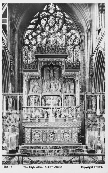 Vintage 1955 Yorkshire Postcard, Selby Abbey, The High Altar GM0