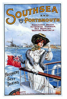 Vintage Reproduction Travel Poster Postcard Southsea & Portsmouth by Train 15O