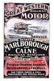 Repro Travel Poster Postcard  GWR Motor Service Marlborough to Calne 1904
