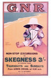 Vintage Repro Travel Poster Postcard, GNR Railways Skegness 3/- King's Cross 98N