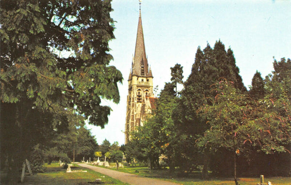 Essex Postcard Church of Saint St Thomas, Brentwood, Graves Grave Yard Trees 9U