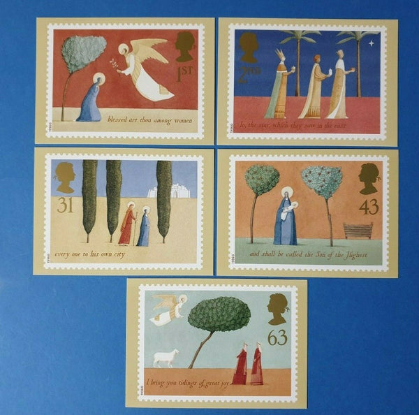 Set of 5 PHQ Stamp Postcard Set No.184 Christmas 1996 + free gift BQ1
