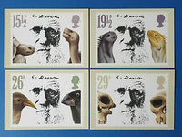 Set of 4 PHQ Stamp Postcards Set No.57 Centenary Death Charles Darwin 1982 CK1