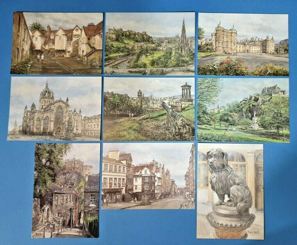 Beautiful Collection of 9 New Edinburgh Art Postcards by Pat Bell