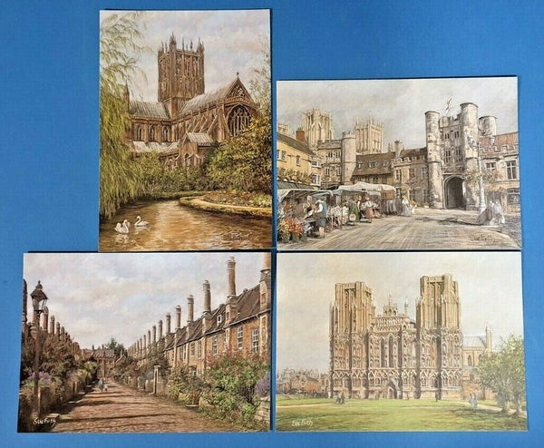 Collection of 4 New Wells, Somerset Art Postcards by Sue Firth, Postcrossing