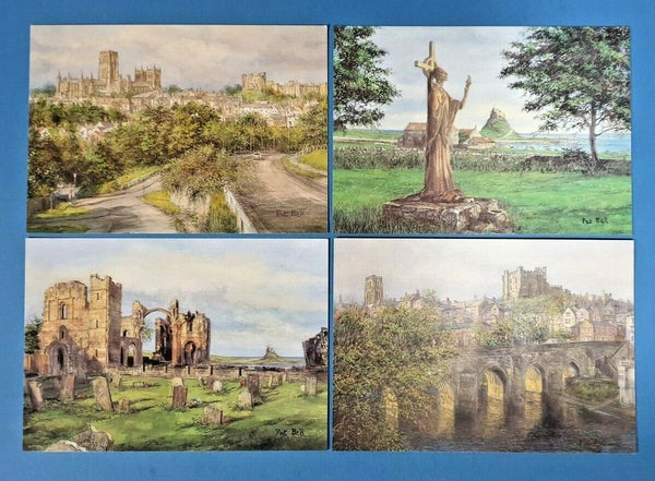 Set of 4 New Durham & Northumberland Art Postcards by Sue Firth, Postcrossing