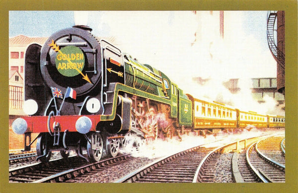 Nostalgia Postcard Art The Golden Arrow Steam Locomotive Reproduction Card NS1
