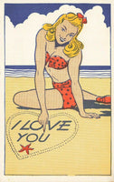 Comic Postcard No.32, I Love You, by William Foster, Seaside, Joke, Humour
