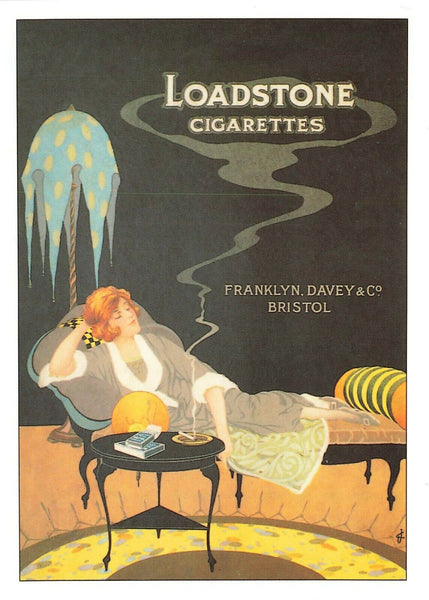 Repro Poster Postcard, Loadstone Cigarettes, Franklyn, Davey & Co. Bristol IT9
