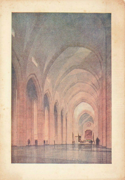 Vintage Surrey Art Postcard, Guildford Cathedral Interior JD2
