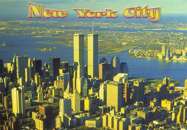 USA Postcard, New York City, Aerial View of Manhattan facing South JF2