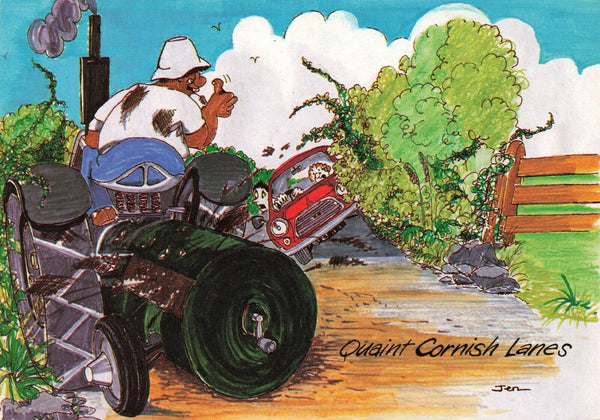 Cornwall Postcard, Quaint Cornish Lanes, Comic Seaside Funny, Joke, Tractor JR6