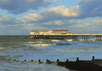 Norfolk Postcard, Stormy Weather, Cromer, Pier, Sea, Waves, Clouds JT1
