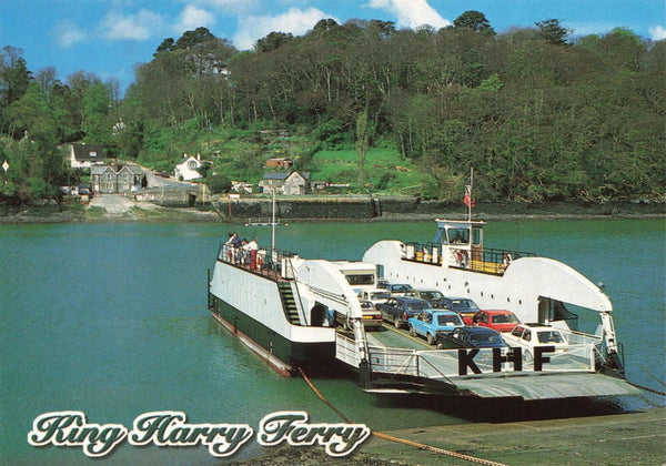 Cornwall Postcard, King Harry Ferry, River Fal, Classic Cars JS8