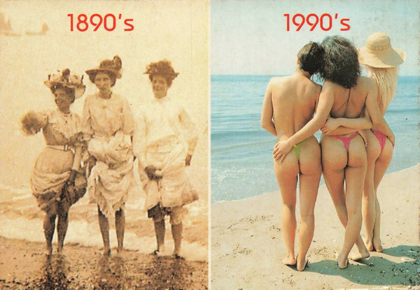 Postcard, Ladies in Swimming Costumes, Contrast from 1890s to 1990s JW4