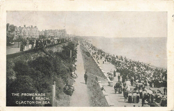 Vintage 1907 Essex Postcard, The Promenade & Beach, Clacton On Sea KC7