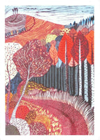 Art Postcard, Through Dark Woods, Colmers Hill, Bridport, Dorset Liz Somerville