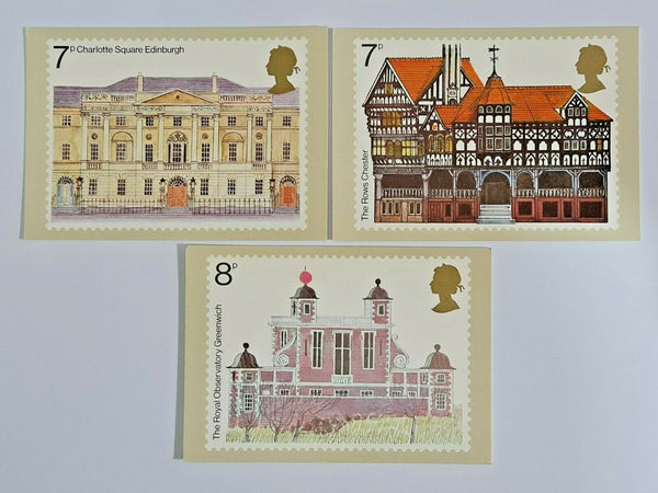 Set of 3 PHQ Stamp Postcard Set No.1 Architectural Heritage Year 1975 KG7