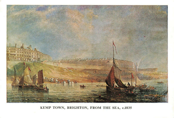 Sussex Art Postcard Kemp Town, Brighton from the sea c1835 by J.W Carmichael LB8