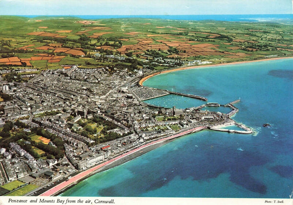 1974 Cornwall Postcard Penzance & Mounts Bay from the Air Aerial View LD2
