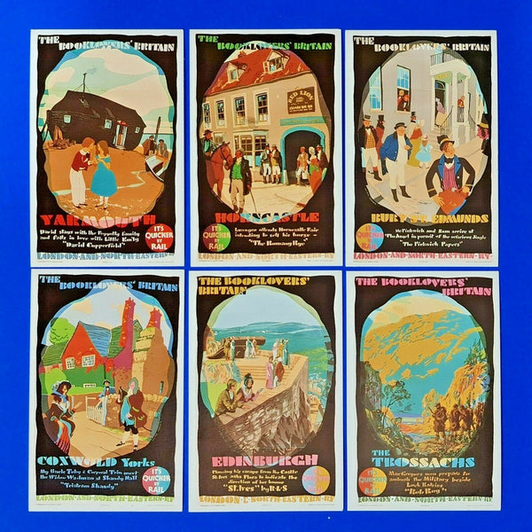 Set of 6 LNER Railway Postcards Book Lovers Britain by Dalkeith Publishing LF2