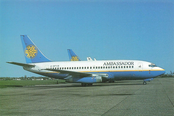 Aircraft Postcard, Boeing 737, Ambassador Airlines at Southend Airport 1994 LJ4