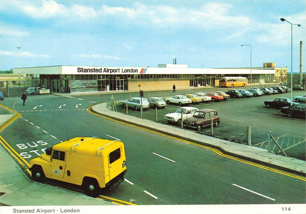 Postcard, 1970s Stansted Airport London, Classic Cars LM4