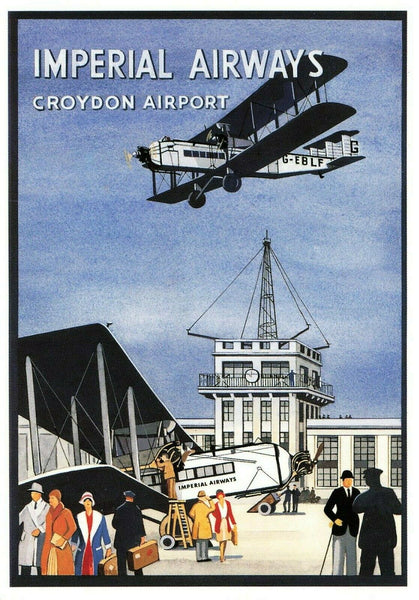 Airline Advertising Aircraft Postcard, Imperial Airways, Croydon Airport LN8