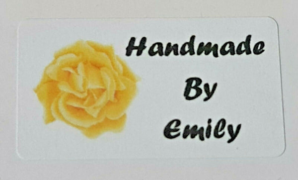 325 x Hand Made by Craft Labels Yellow Flower on White Matte Labels Stickers LQ4