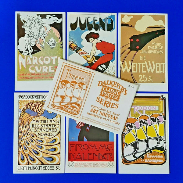 6 Used Dalkeith Postcards in Envelope Classic Poster Series ART NOUVEAU LQ3