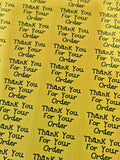 260 x Thank You for Your Order Sticky Labels TOP BANANA Yellow Matte Stickers