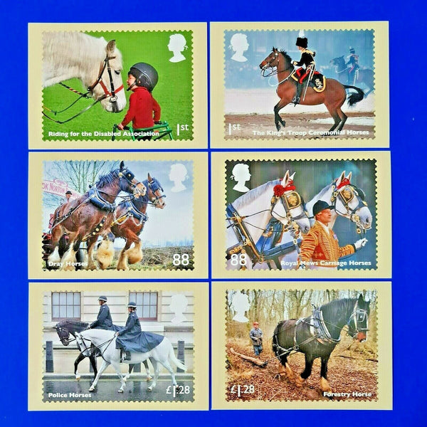 PHQ Stamp Postcards Set of 6 No.385 Working Horses 2014 LV6