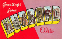 USA Linen 1953 Large Letter Postcard, Greetings from Hubbard Ohio LZ1