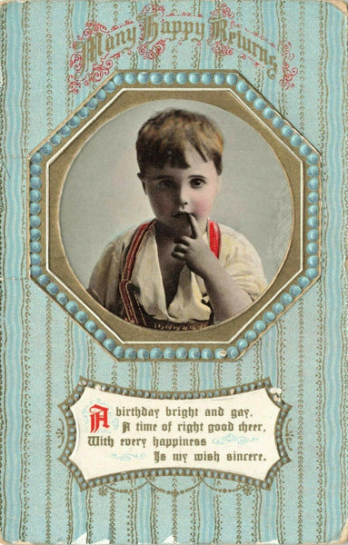 Embossed Vintage 1915 Birthday GREETINGS Postcard Portrait by Philco 2255C #16