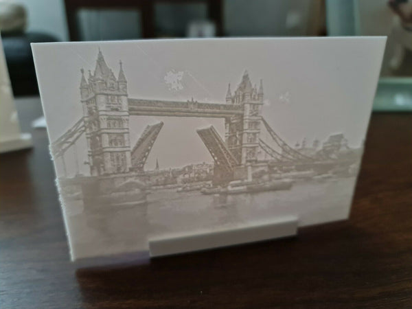 3D Printed Lithophane Image Picture of Tower Bridge London early c1900s