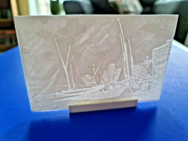 3D Printed Lithophane Image Picture of HASTINGS Yachts Launching early c1900s
