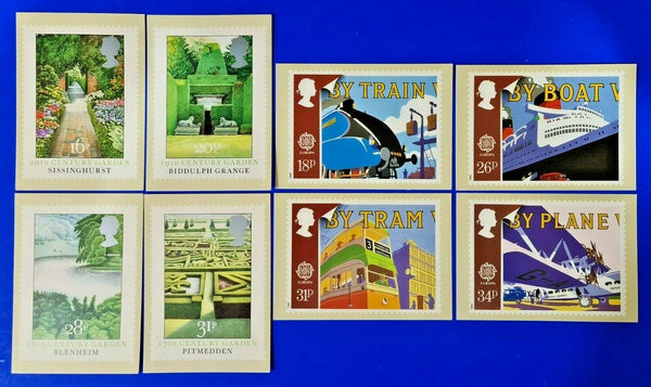 8 x PHQ Stamp Postcard selection, great for Postcrossing, Transport, Gardens ML4
