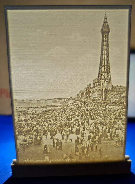 3D Printed Lithophane Image Picture of Blackpool Tower & Beach early c1900s