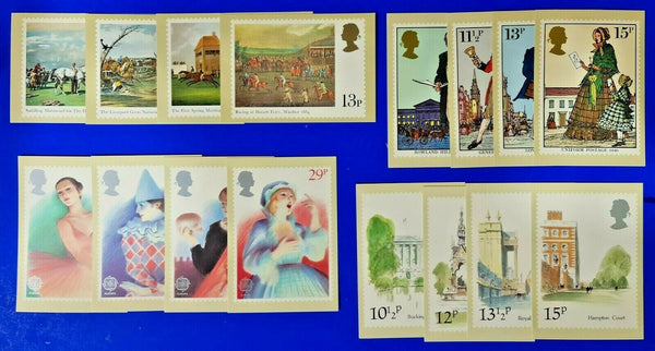 17 PHQ Stamp Postcards 4 Complete sets, London, Theatre, Post, Horse Racing MP6