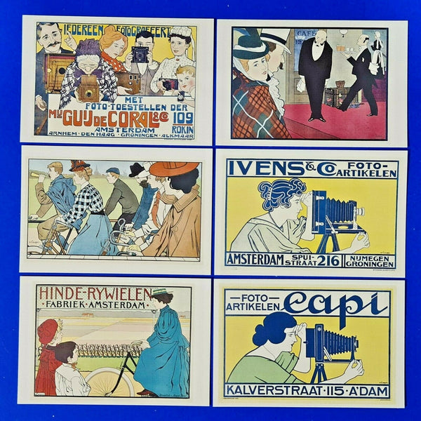 Luxury Set of 6 Fine Art Quality Postcards, Art Deco Art by J G Van Caspel