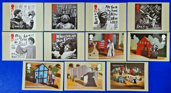 PHQ Stamp Postcards Set of 11 No.349 50th Anniv. Royal Shakespeare Company MW7