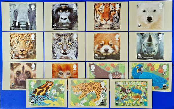 PHQ Stamp Postcards Set of 15 No.348 50th Anniversary of the WWF Wildlife MW8