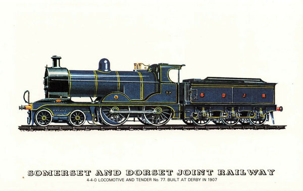 Postcard Somerset & Dorset Joint Railway, 4-4-0 Locomotive and Tender No.77 NF2