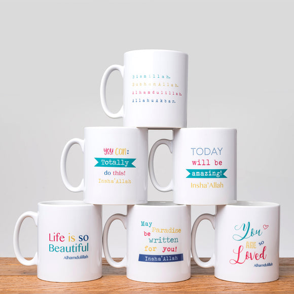 Mugs with positive messages by Islamic Moments